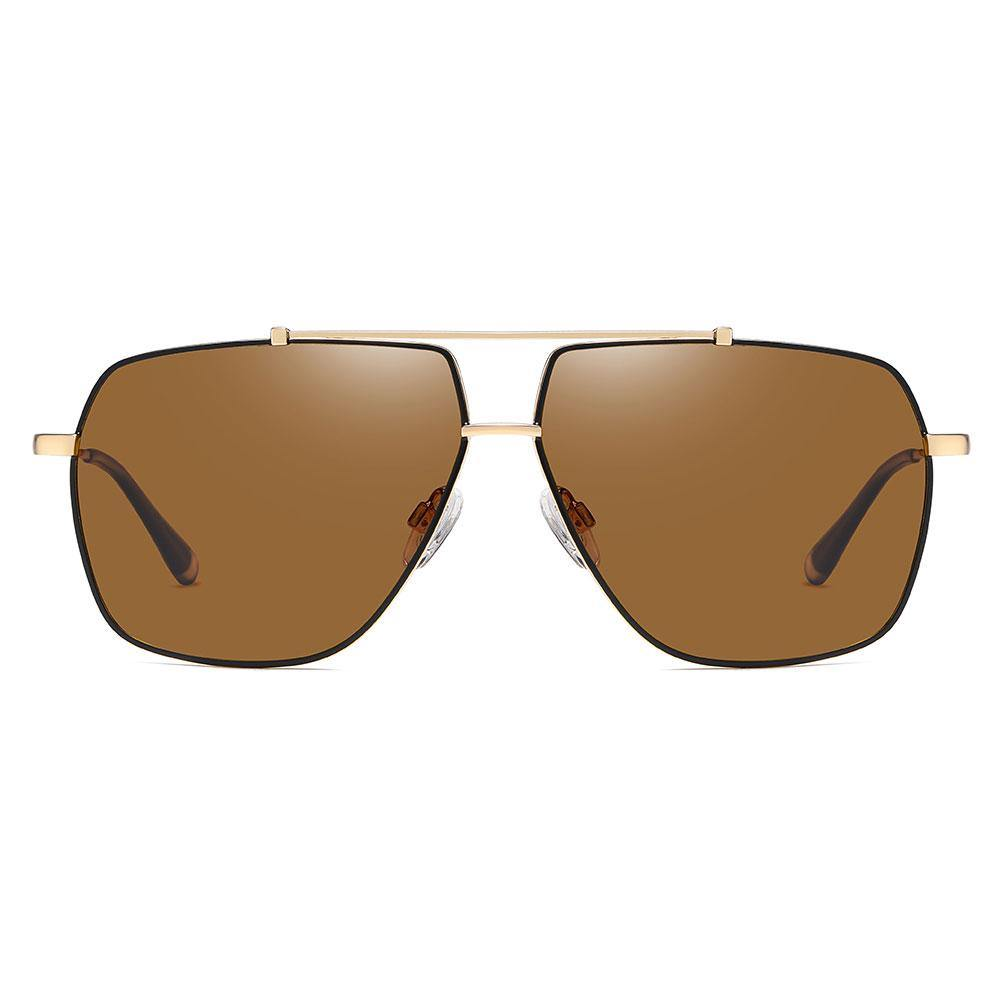 Brown square aviator sunglasses with gold double bridge, lens with black trim