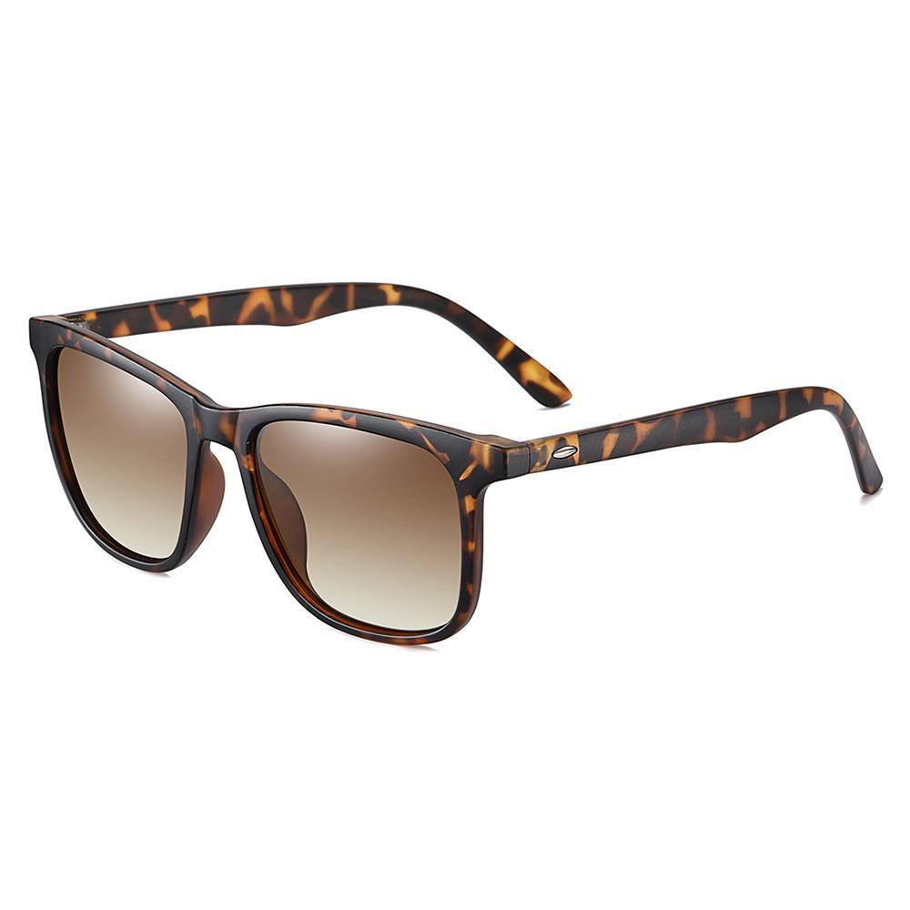 Square sunglasses, brown tortoise lens frame and temple arms