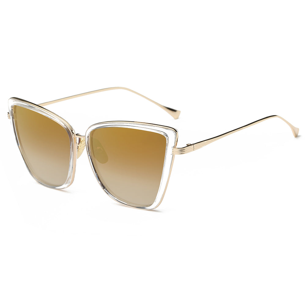 brown gradient sunglasses lens with gold temple arms
