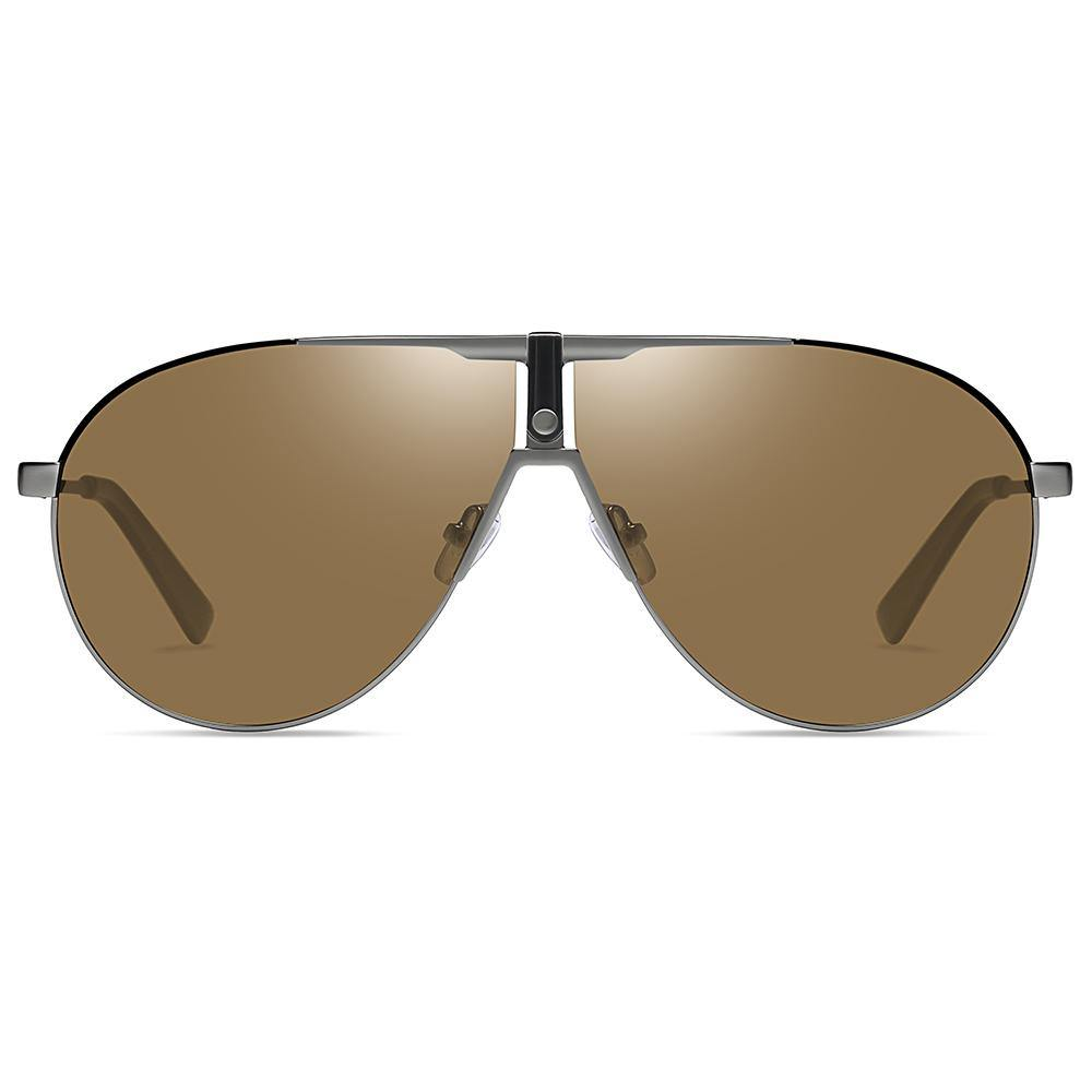 amber brown lens tinted and flat top style aviator shape