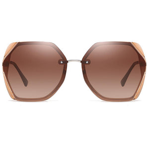 brown sunshades in octagon shape, silver nose bridge