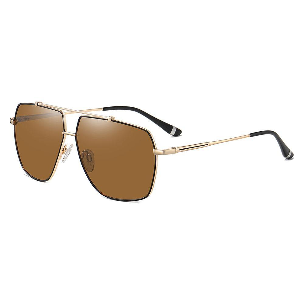 brown prescription sunglasses with black trim, gold temple arms with black ending tips