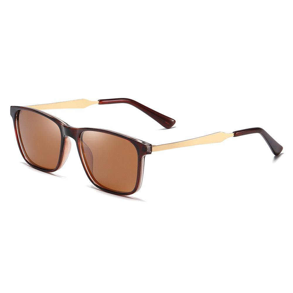 Rectangular sunglasses with gold temple arms and dark red ending tips