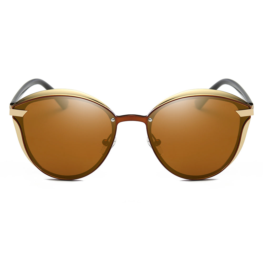 round shape with angular edges, brown tinted lens with gold frames and black temples, brown nose bridges