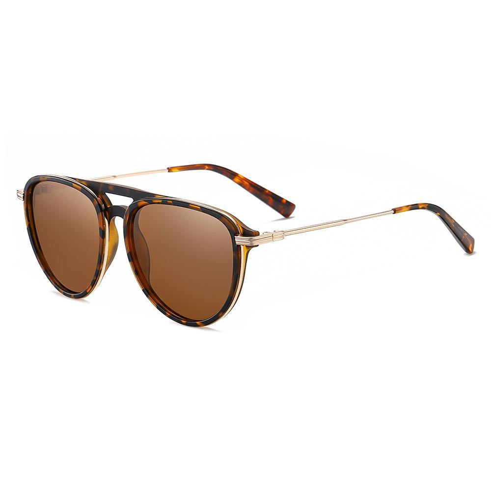 Round sunglasses with gold trimmed tortoise frame color, double bridge design and gold temple arms, ending tips in tortoise