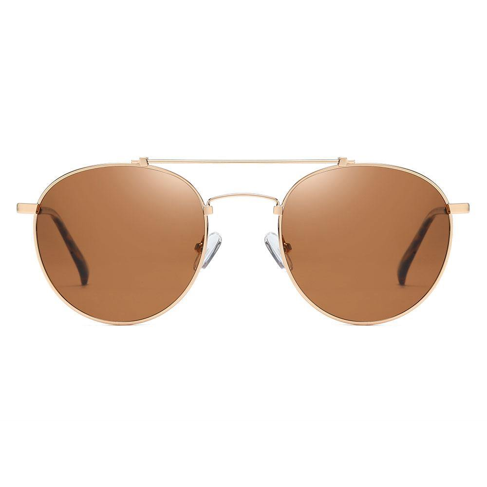 Round sunglasses with brown tinted lens, Slight aviator style with double bridge, trimmed with gold