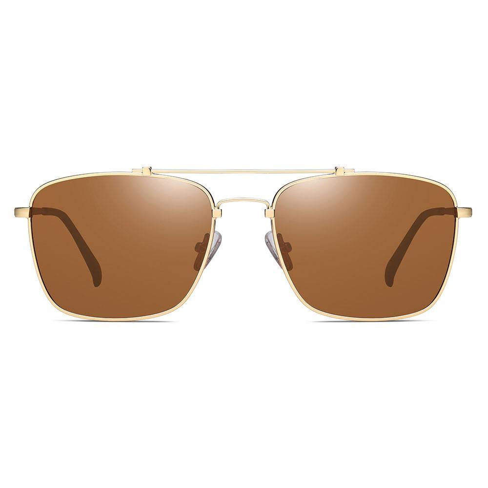 Brown tinted lenses with gold trimmed in rectangle sunglasses