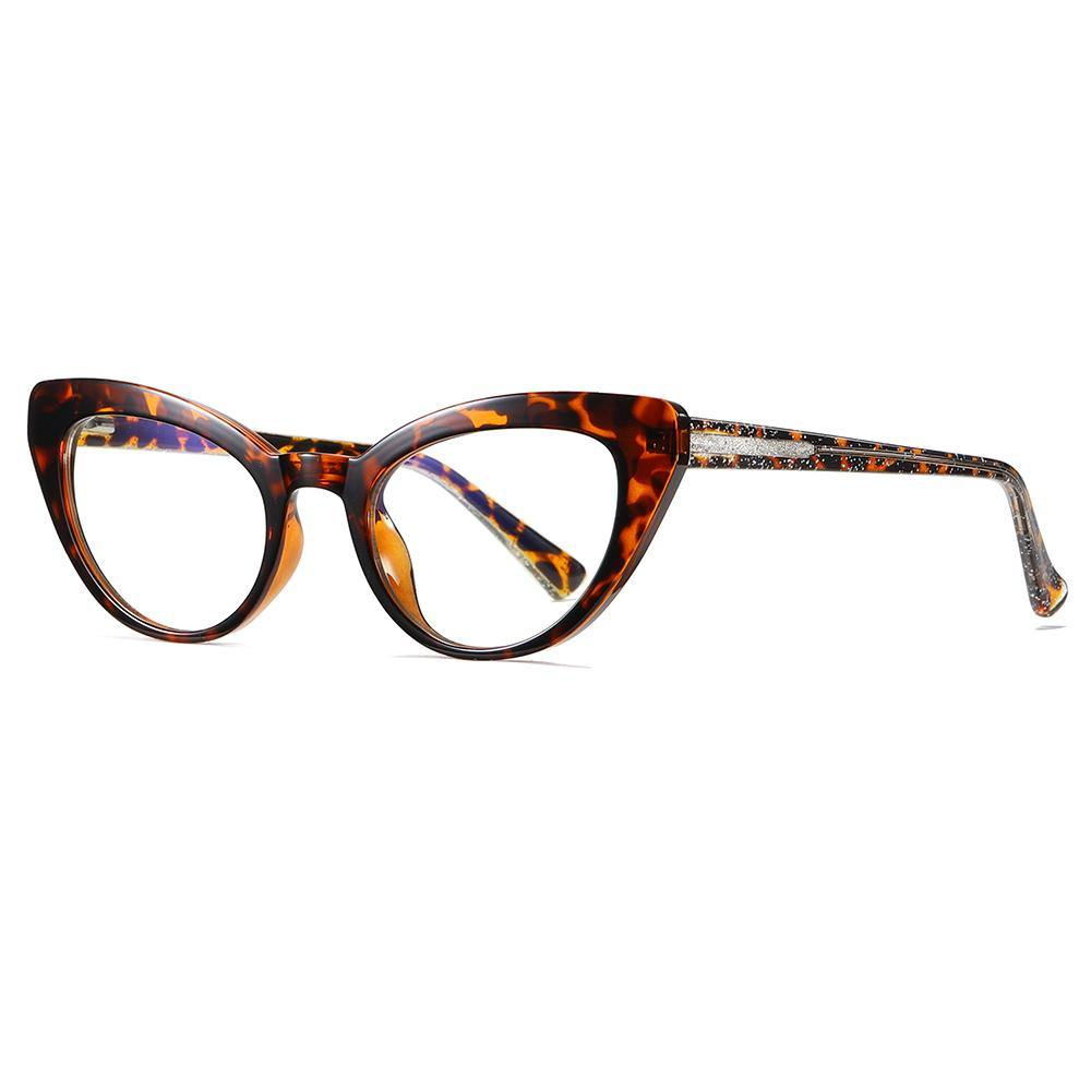 prescription eyeglasses in cat eye shape, tortoise frame color
