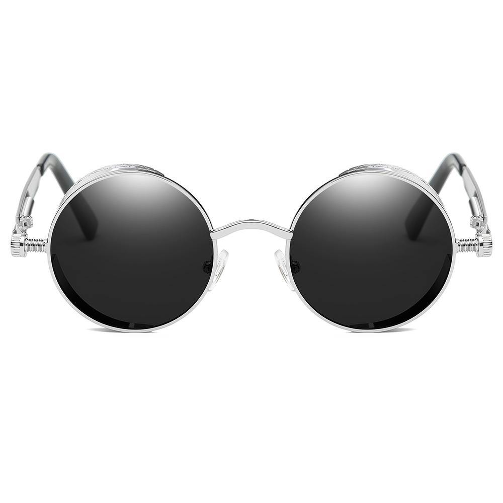 cheap lennon round shades, black lens and silver frames