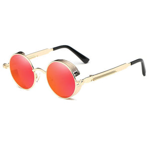 Circle frames glecks, rocking john lennon round, gold frames and temple arms, black ending tips, coral red lens,