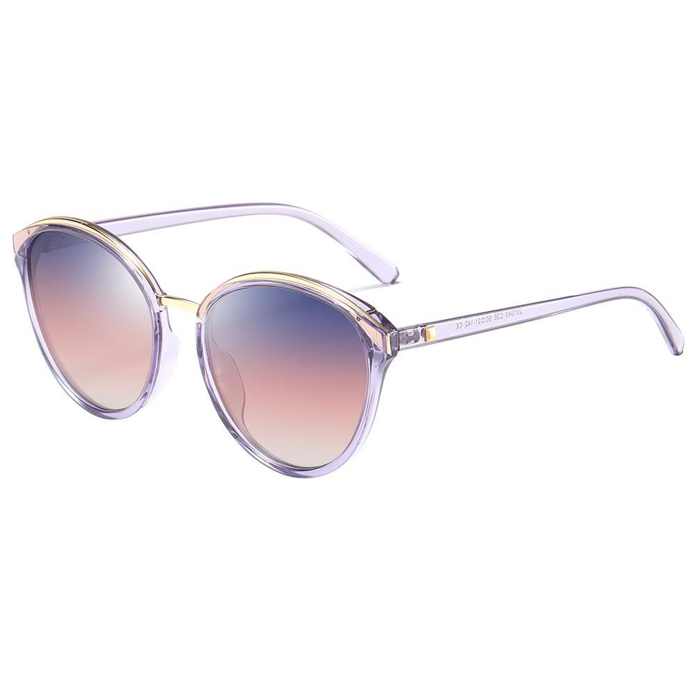 side view of circle frame sunglasses, blue gradient lens and clear temples