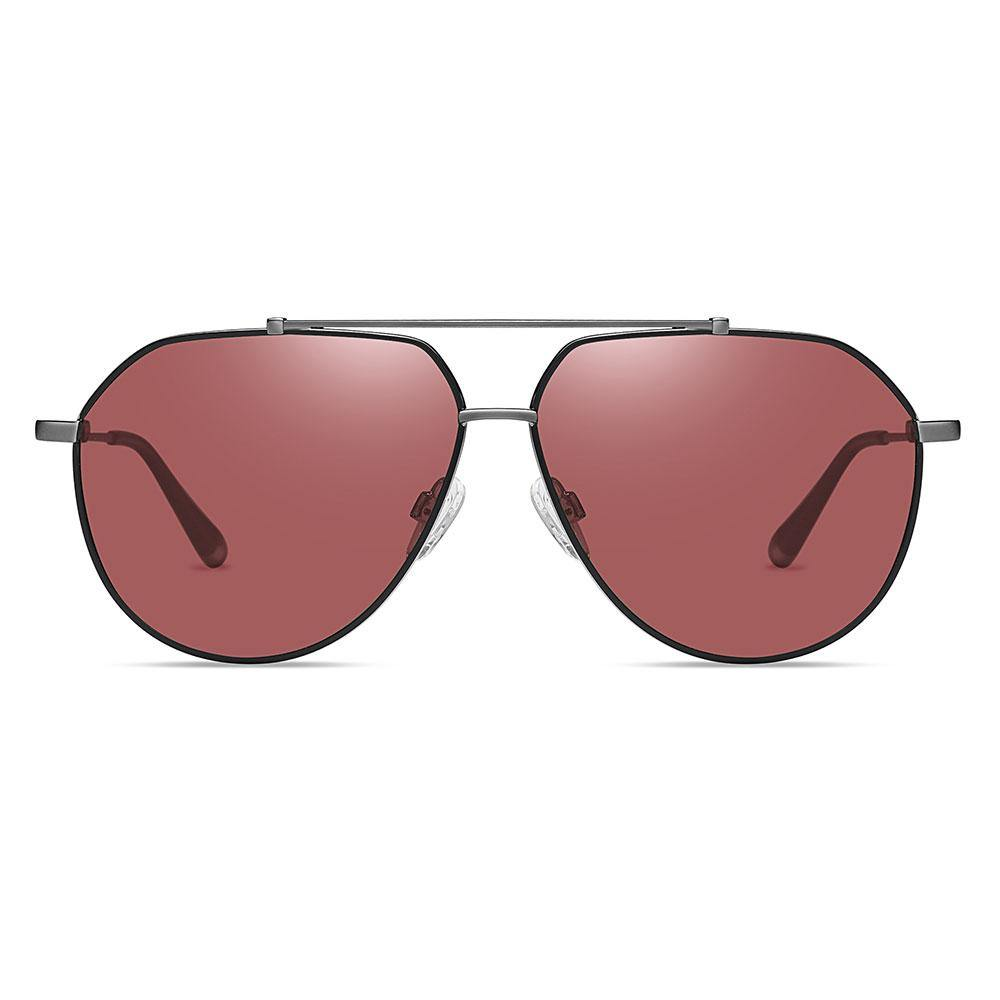 Claret red aviator sunglasses trimmed with black, deep grey double bridge