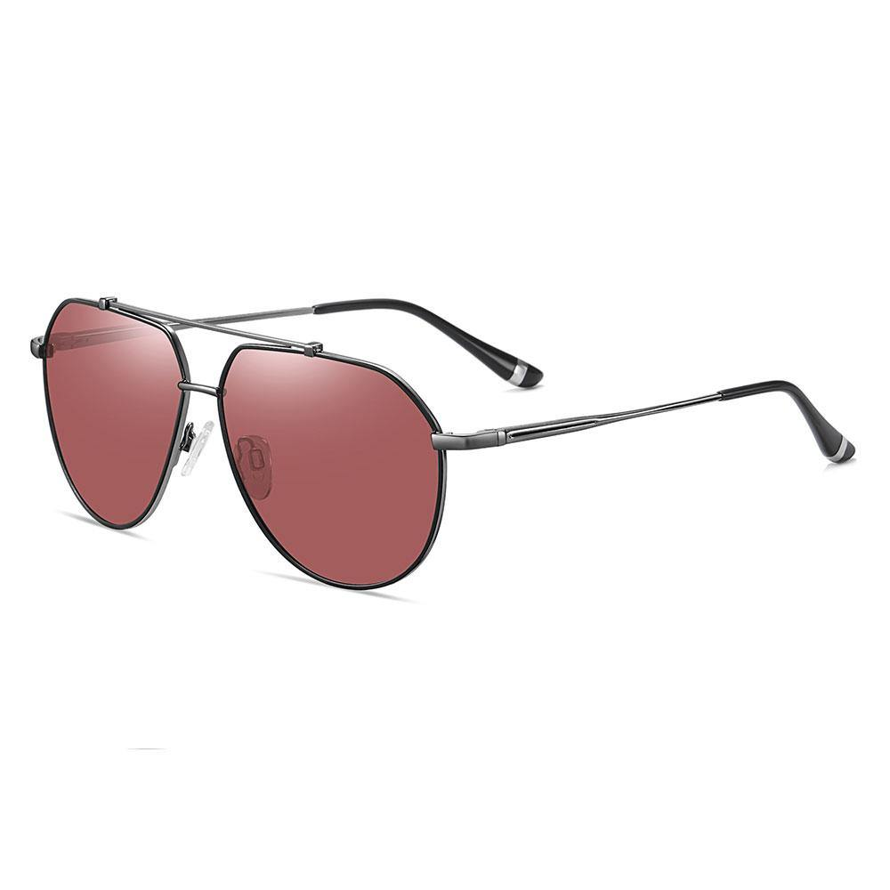 Claret red sunglasses with deep grey temple arms, black ending tips