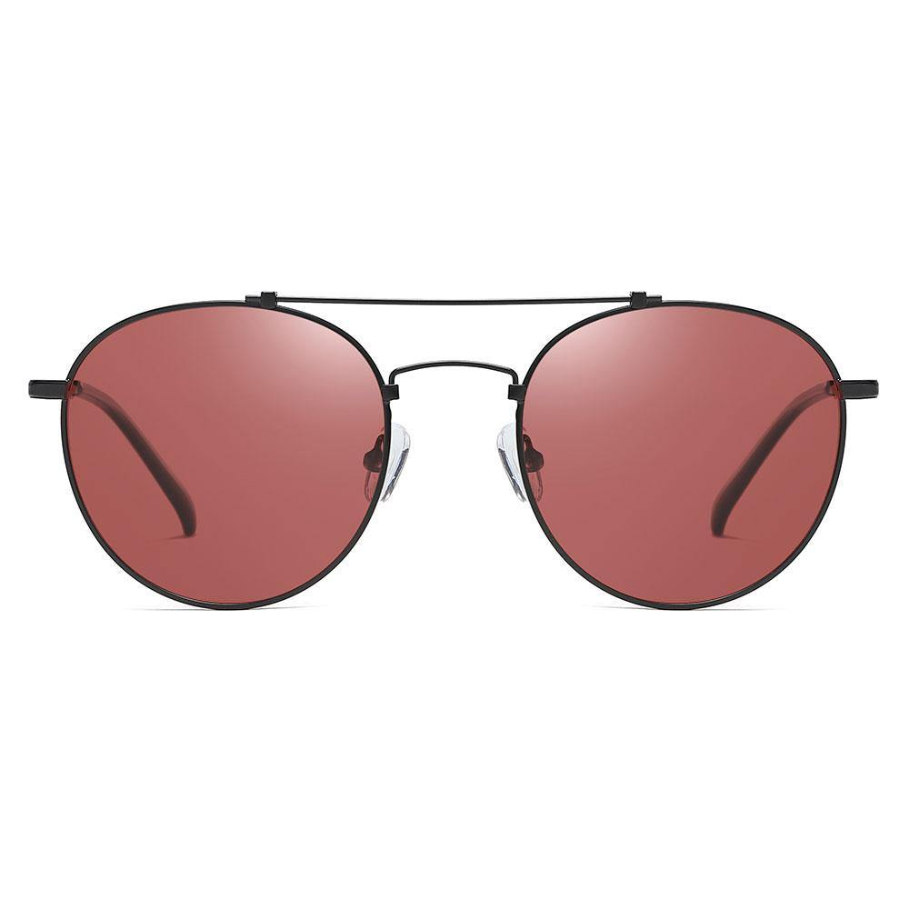 Claret red sunglasses with black trim, double bridge