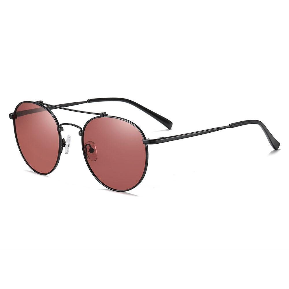 claret red sunglasses with black trim, black temple arms, double bridge slight aviator style