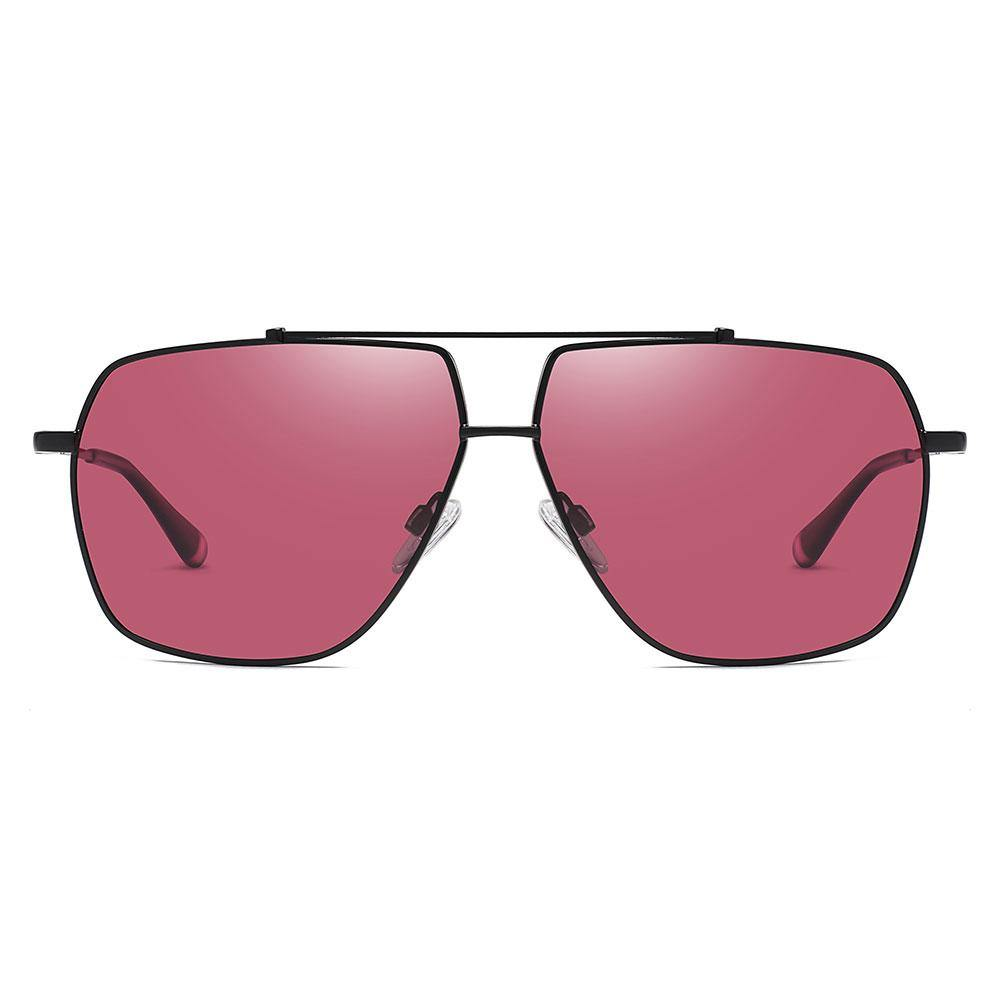 Claret red square aviator sunglasses trimmed with black