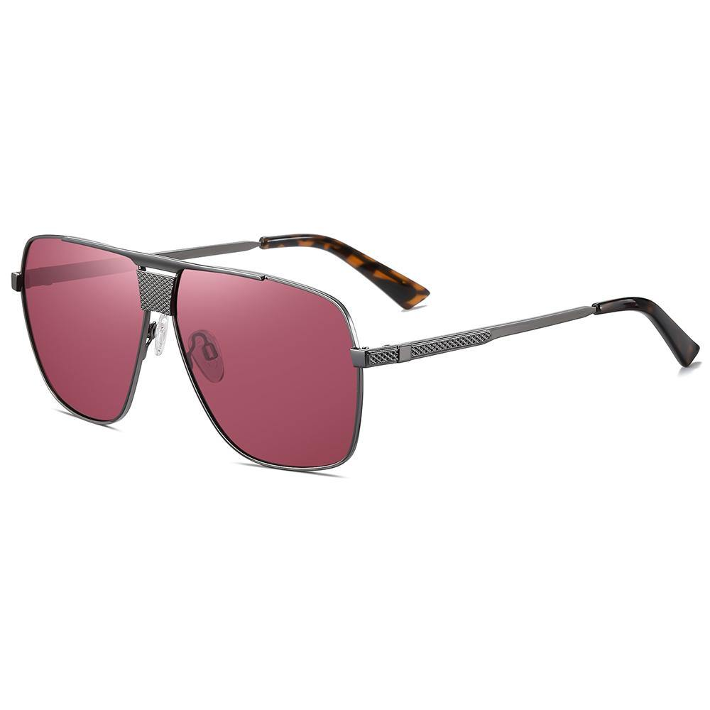 side view Burgundy red lens tint with flat top square shape, dark grey temple arms with tortoise ending tips