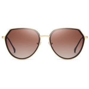 Front of Sunglasses which Has Claret Red Gradient Lens with Gold Frames