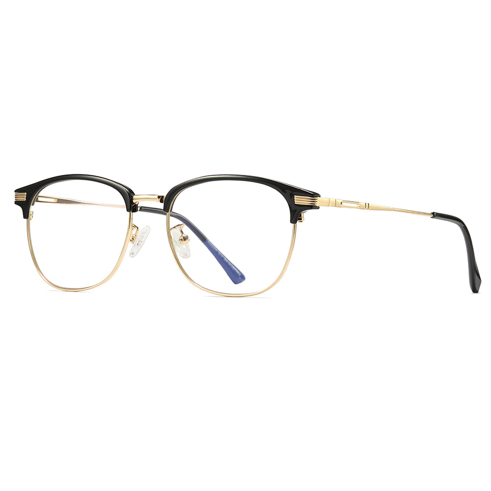 classic clubmaster eyeglasses, gold temple arms with black ending tips