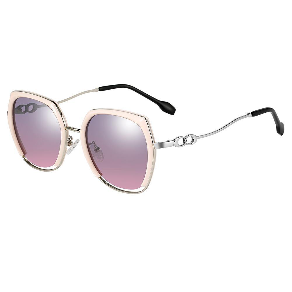 clean cutout square sunglasses, silver temple arms with black ending tips