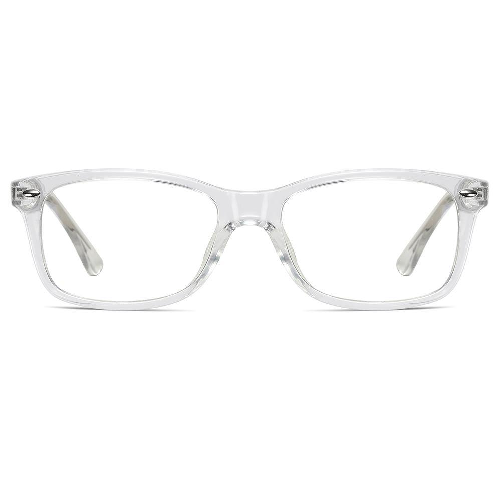 clear transparent eyeglasses frame in rectangle shape