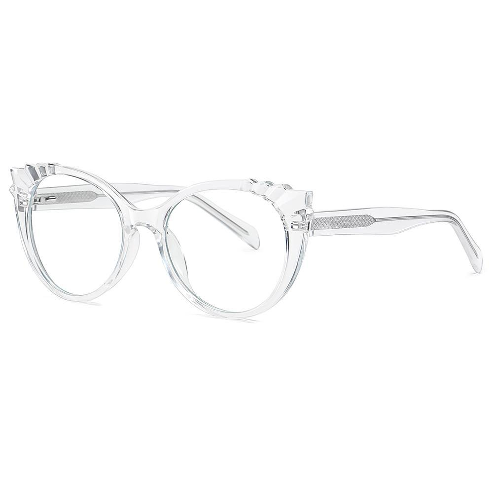 Sideview of cat eye round glasses with transparent frames
