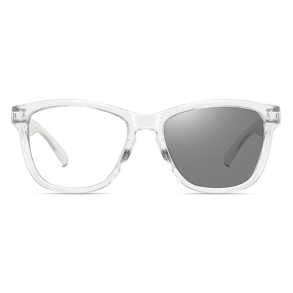 Clear square eyeglasses with transition lenses