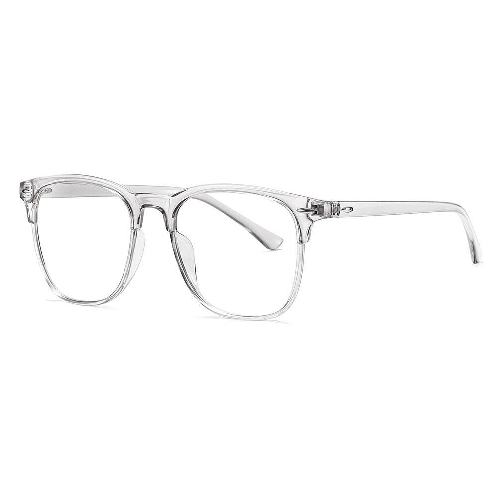Clear square eyeglasses with transparent temple arms