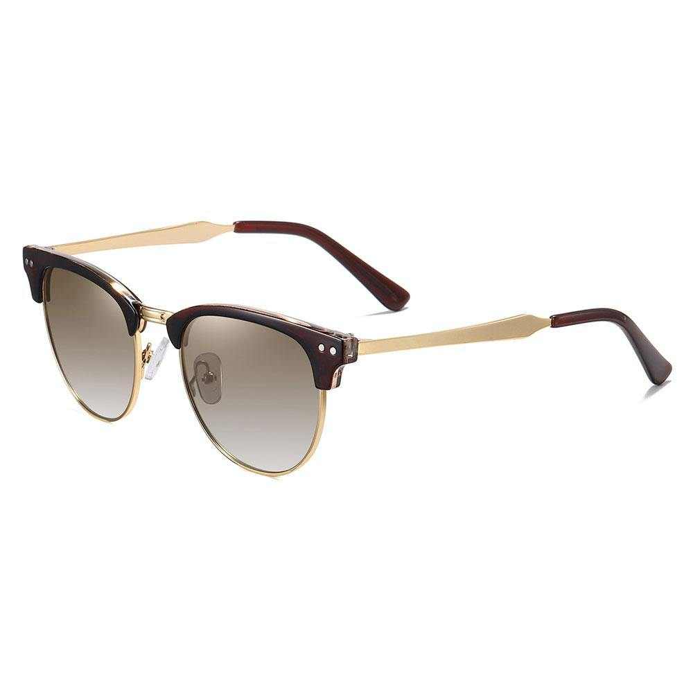 Clubmaster shade, Tea gradient lenses, dark red browline frame, gold temple arms red ending tip