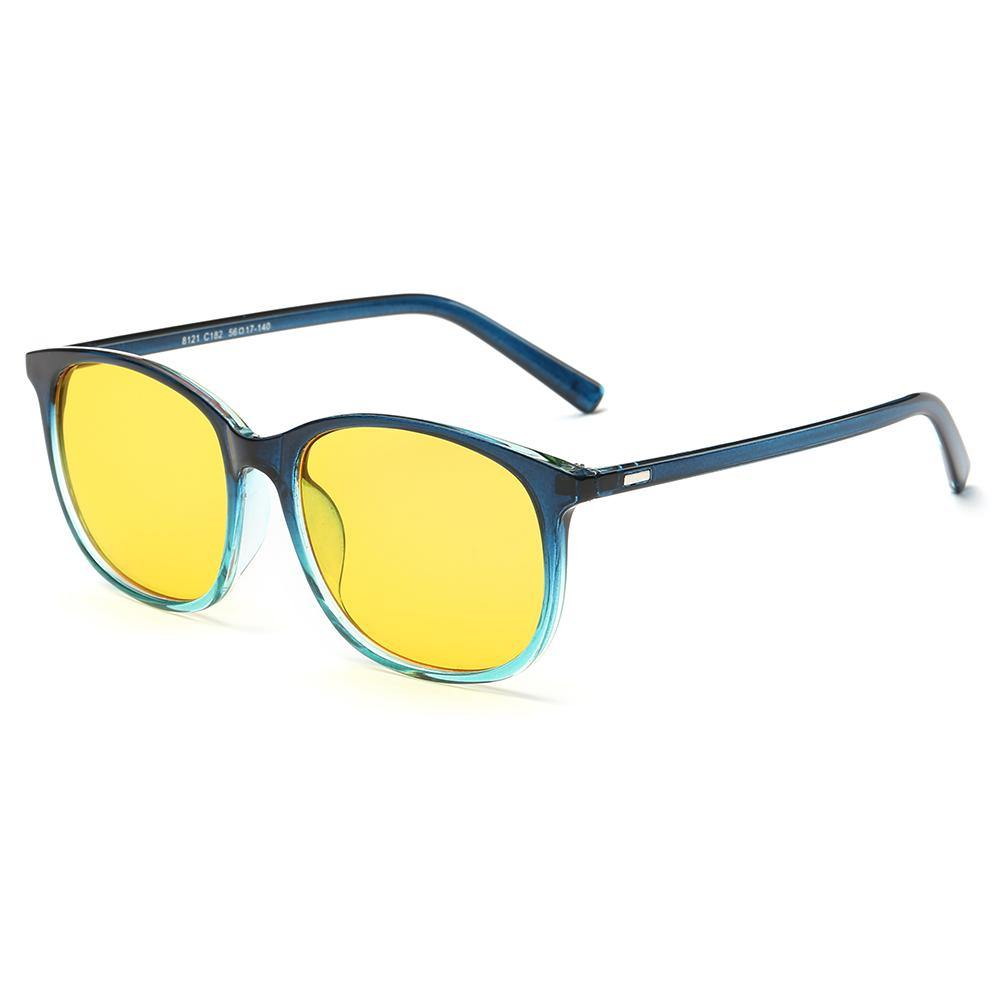 blue gradient frame color with yellow tint lens, blue temple arms