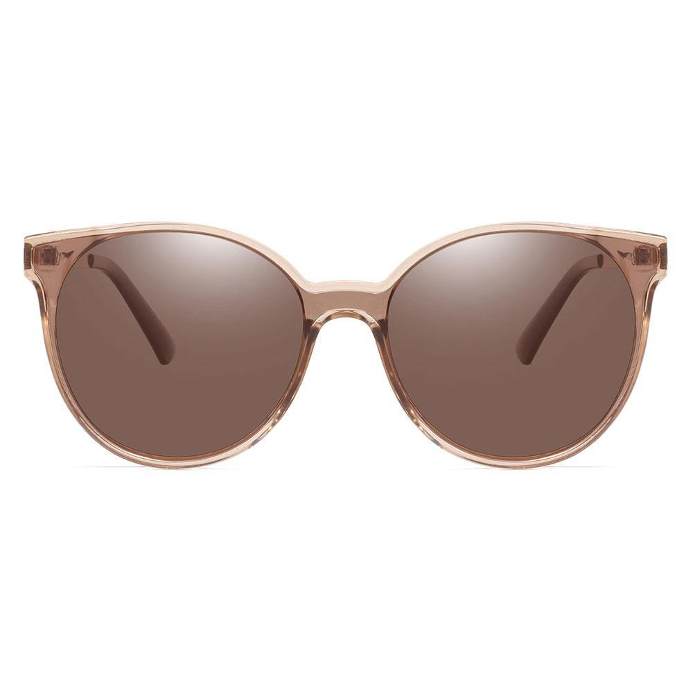 Dark brown round sunglasses for women