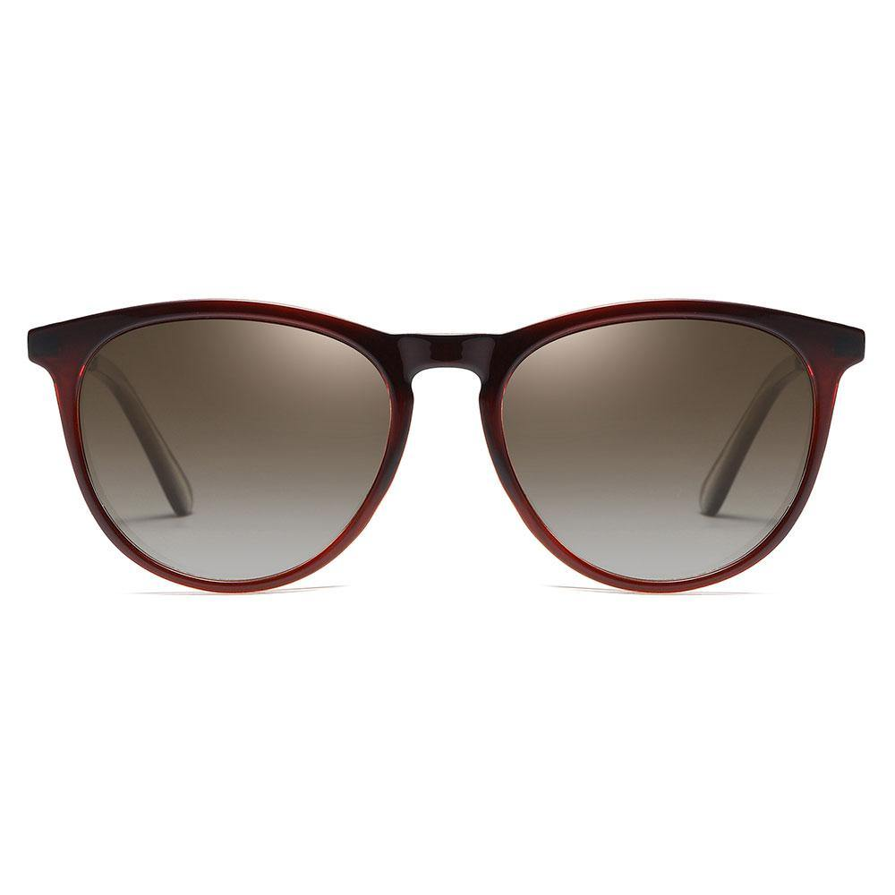 Round sunglasses with dark red frames for men women, dark grey gradient tinted lenses