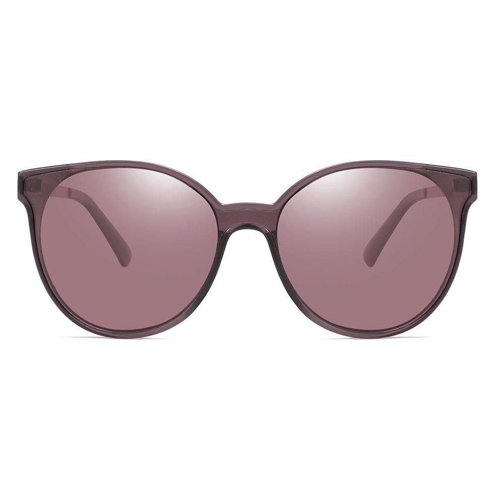 Dark purple round sunglasses for women, slight cat eye style