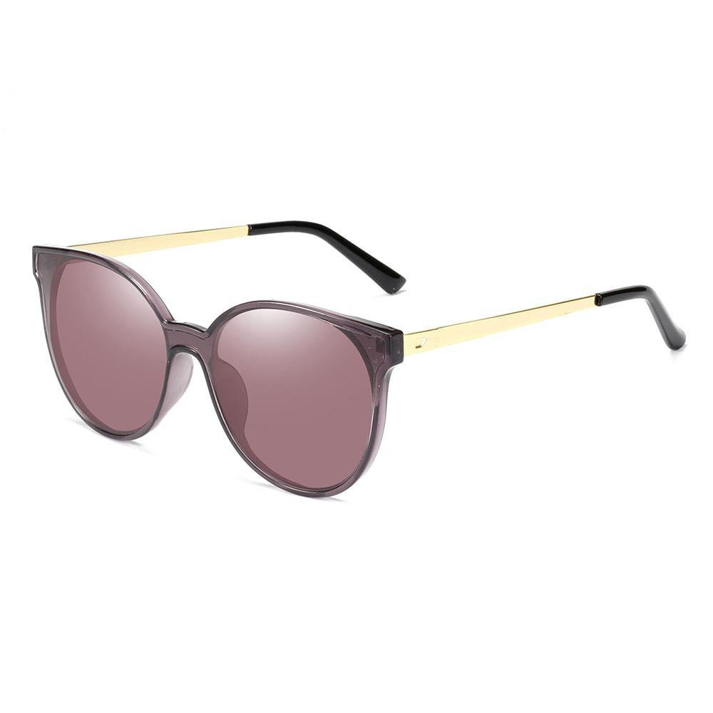 Round purple sunglasses with gold temple arms and black ending tips
