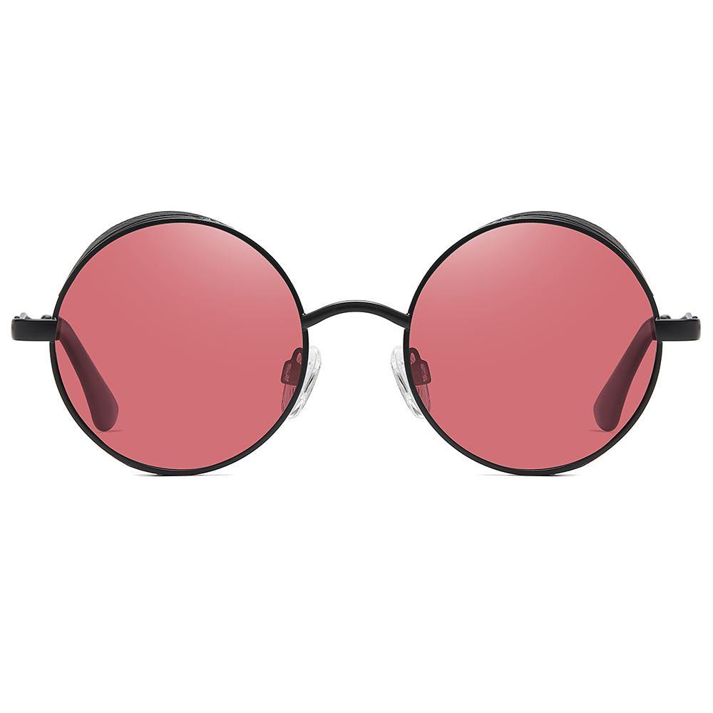 hippie pink dark red lens color with black shades frame, small lennon round style