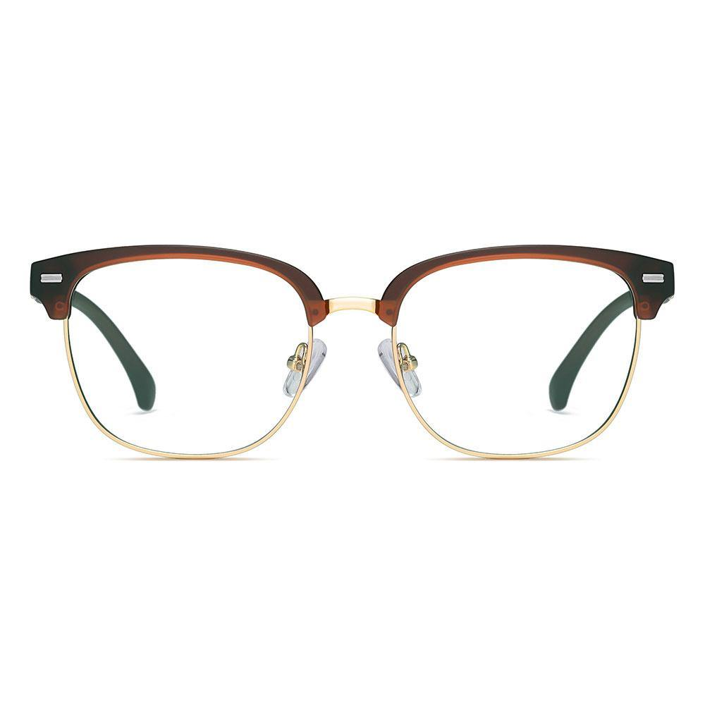 Dark red browline frames, square lenses trimmed with gold, clubmaster style