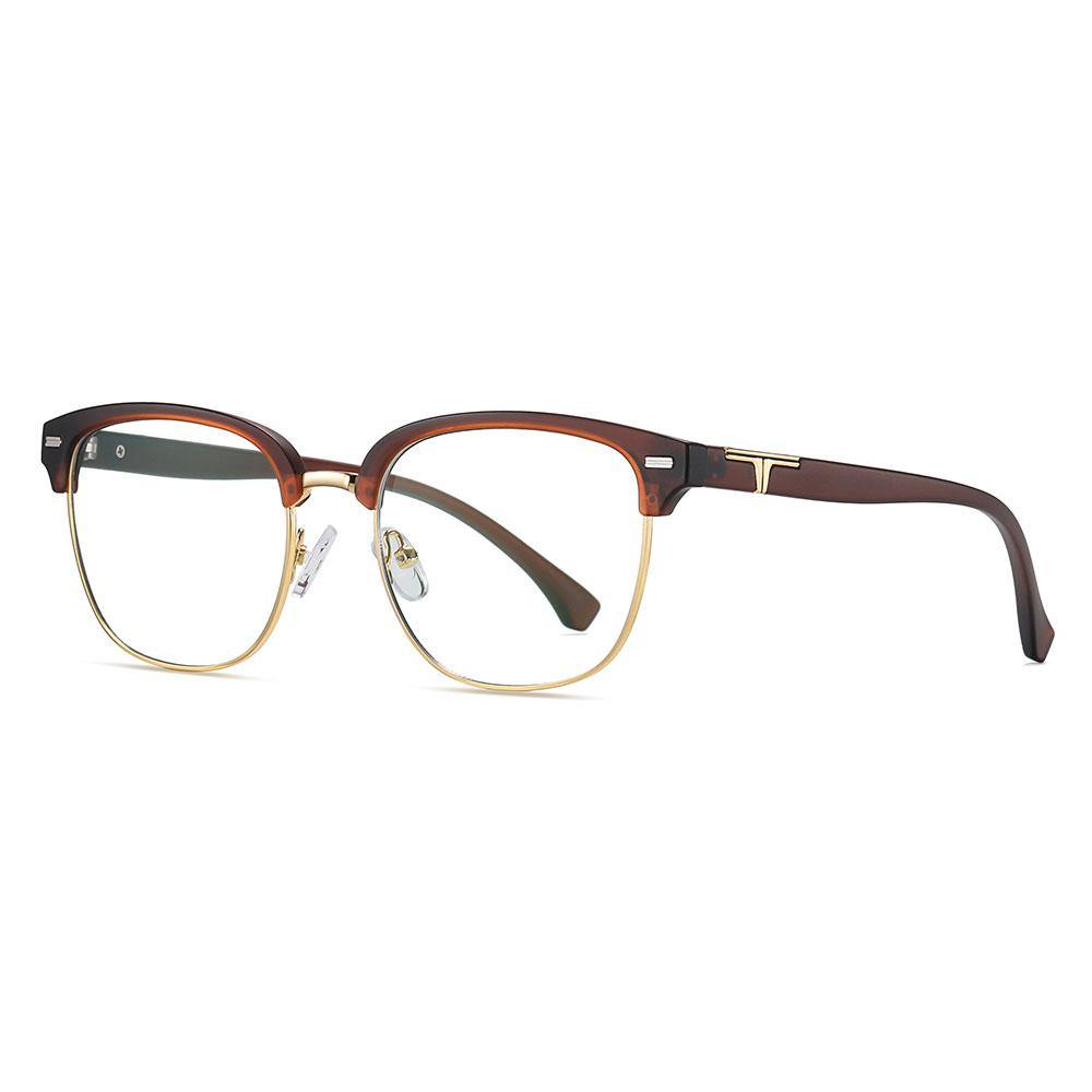 dark red temple arms, eyeglasses trimmed with gold, clubmaster style