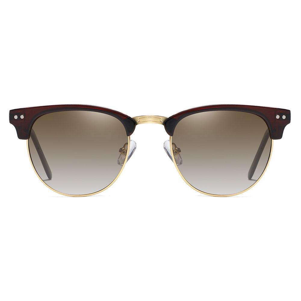 Dark tea gradient lenses with deep red browline frames, gold nose bridge