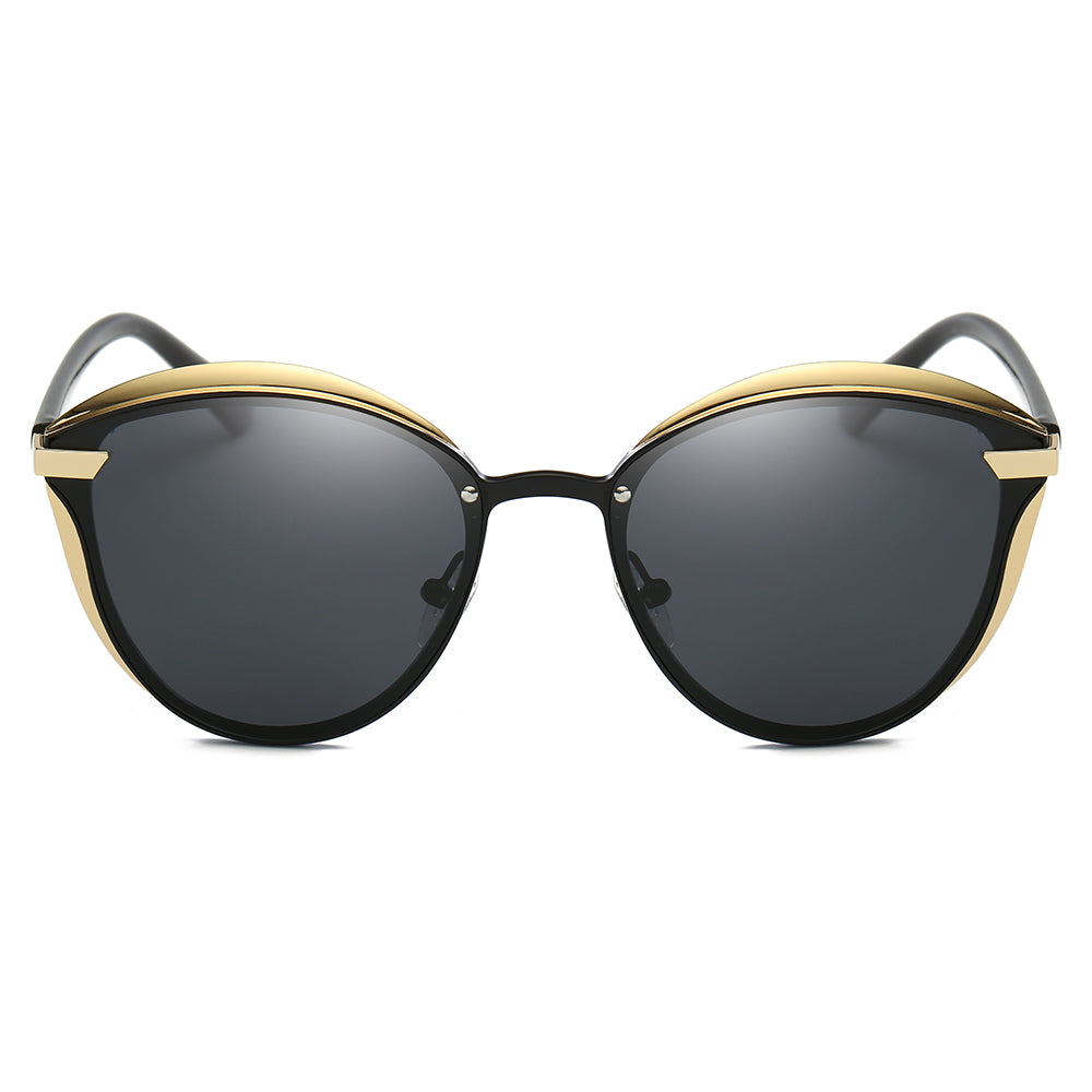 sunglasses for driving, black lens with gold rimmed