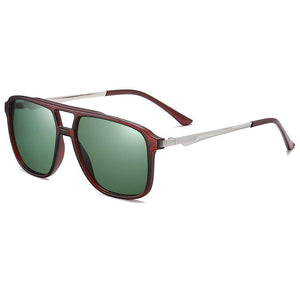 side view of driving sunglasses, g15 lens color and titian red frame color, silver temple with dark red ending tips