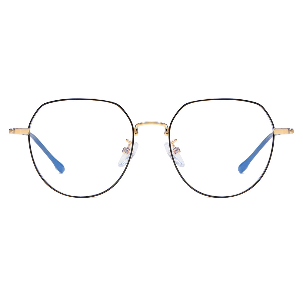 round bottom eyeglasses with black frames, gold nose bridge