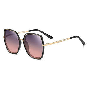 fashion square sunglasses with purple gradient lenses and black frame