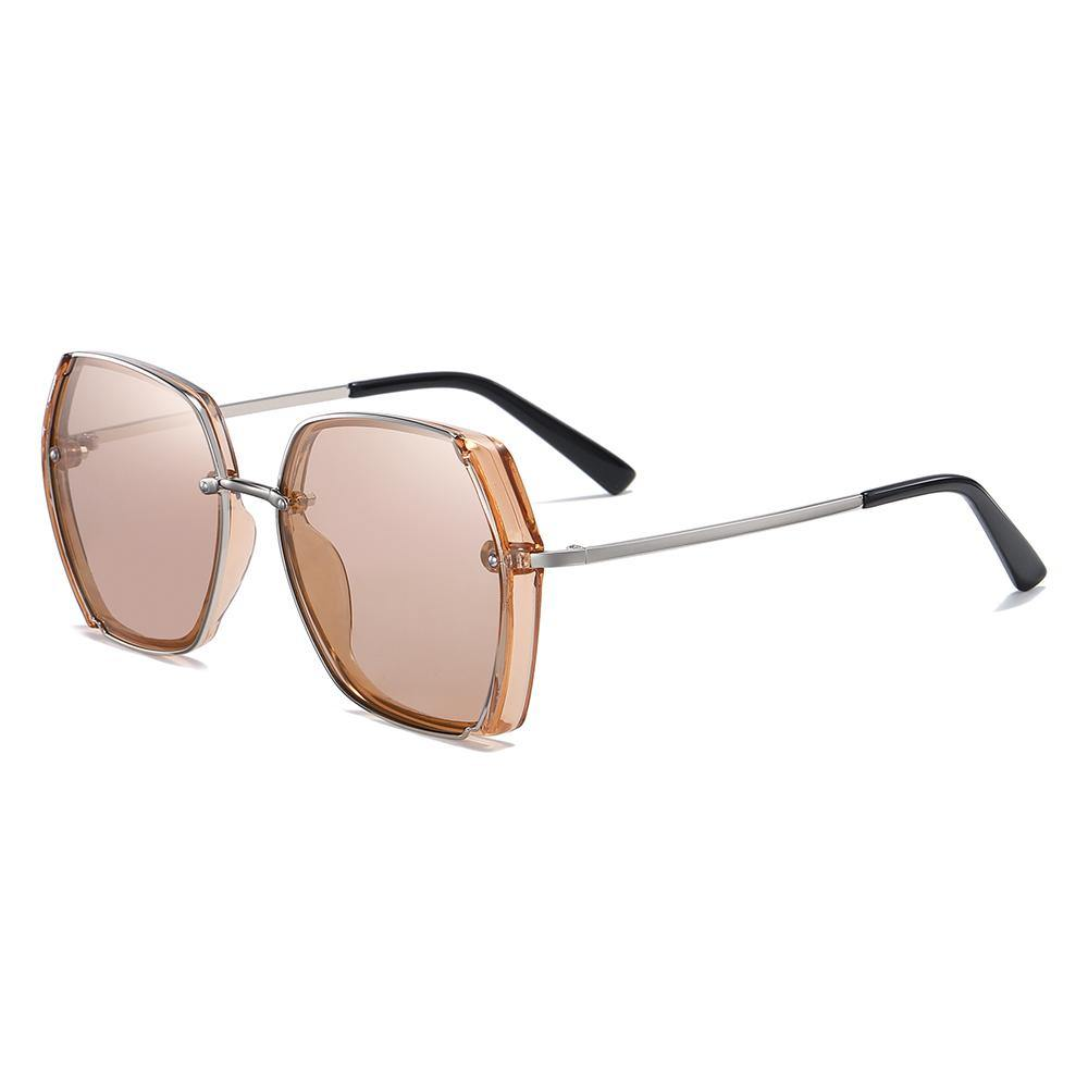 fashion square shades for women with silver temple arms