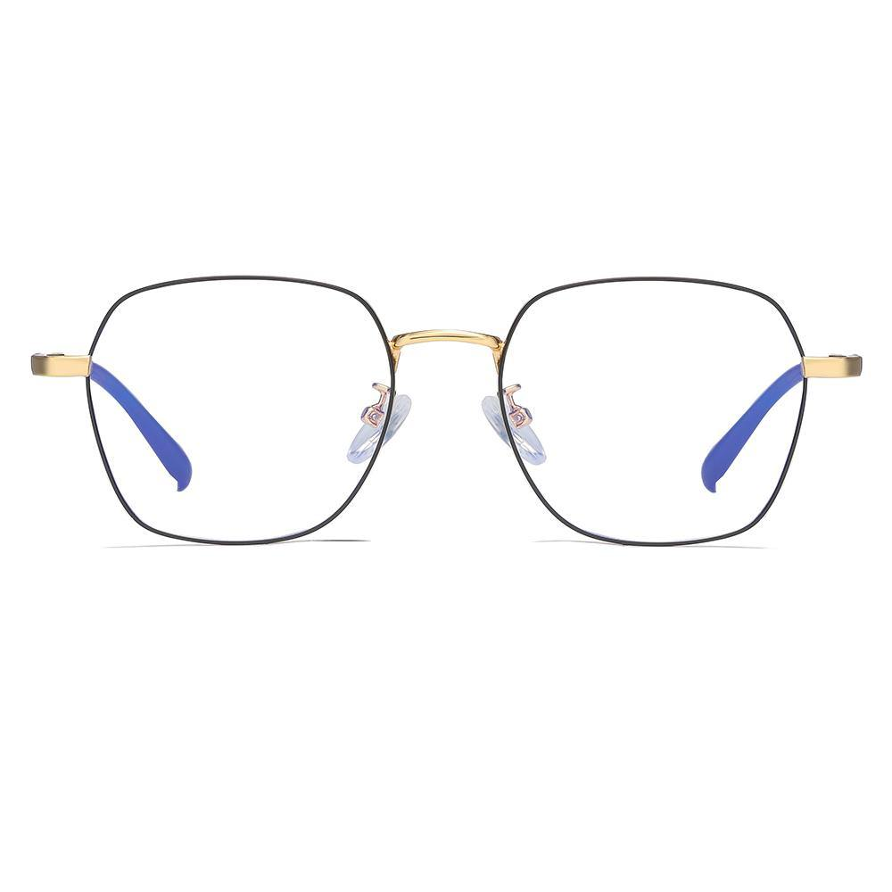fashion square eyeglasses, lens rimmed with black, gold nose bridge and endpieces