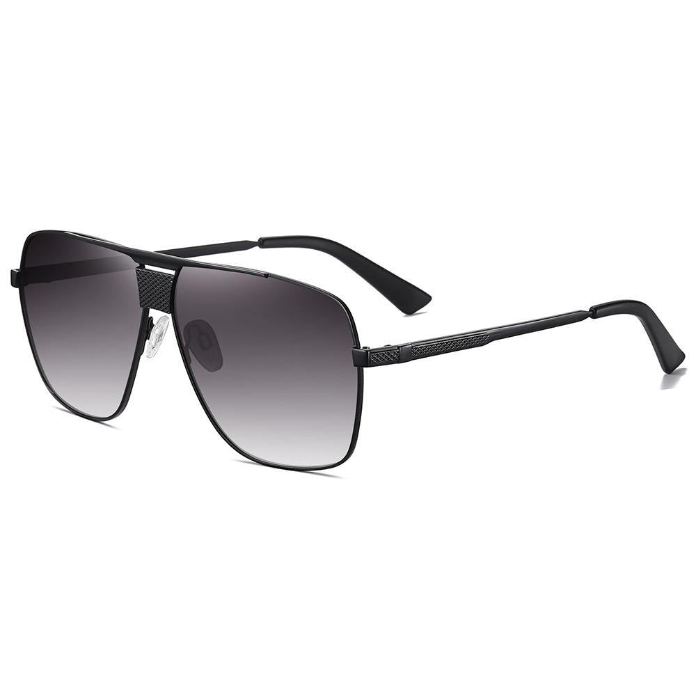 side view of black square sunglasses for men