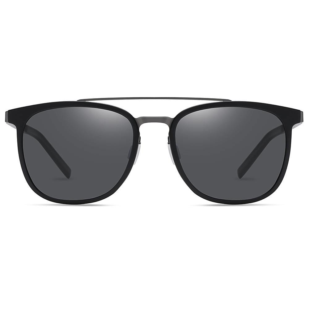 black square sun shades for men and women, with double bridge and black tint lens