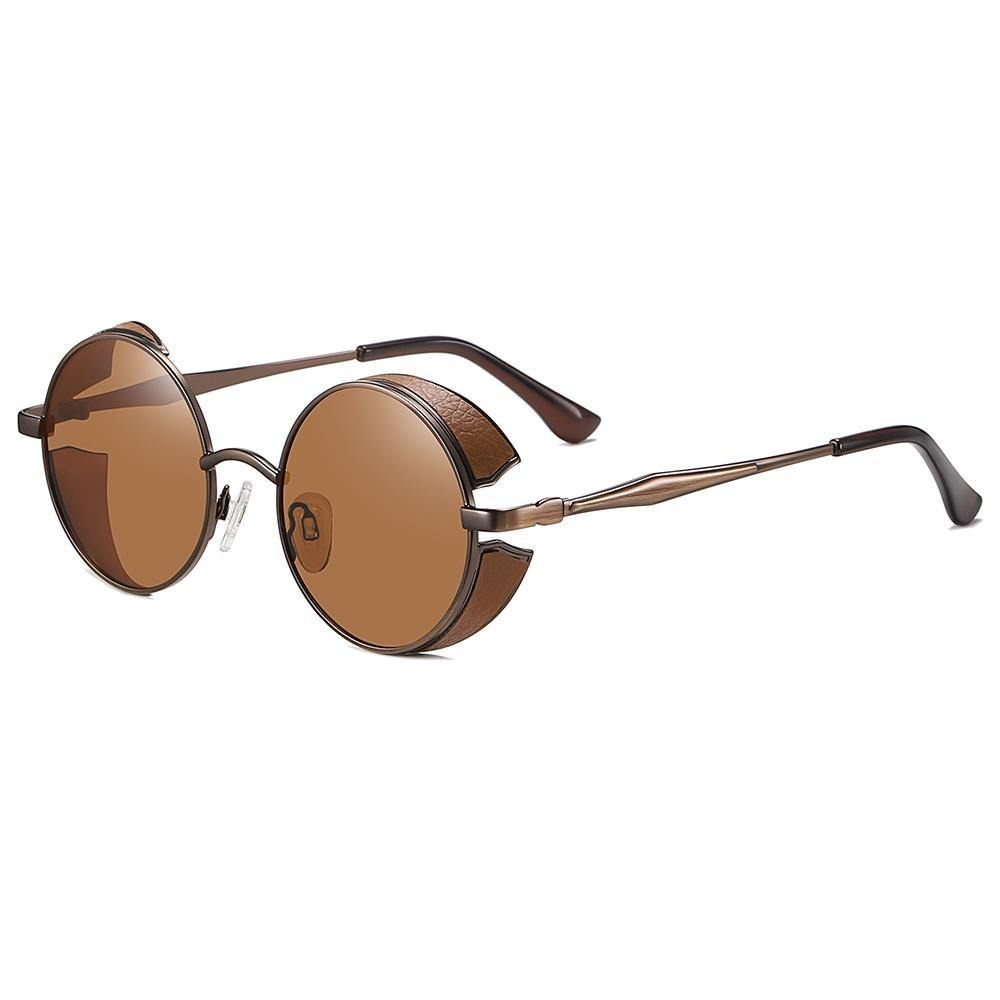 amber tinted lens color with brown frames design and temple arms, for men and women
