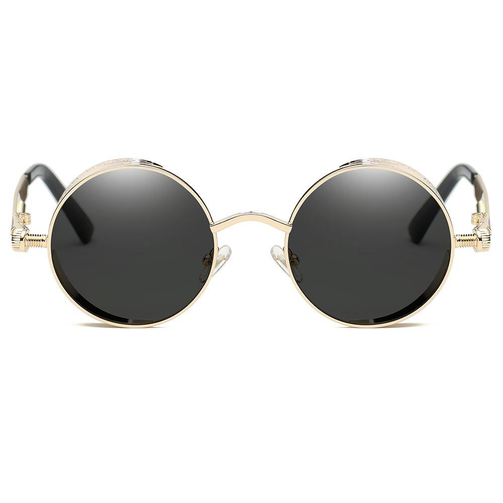 Small Circle sun shades for Men Women, Gold Frames and Black Lens