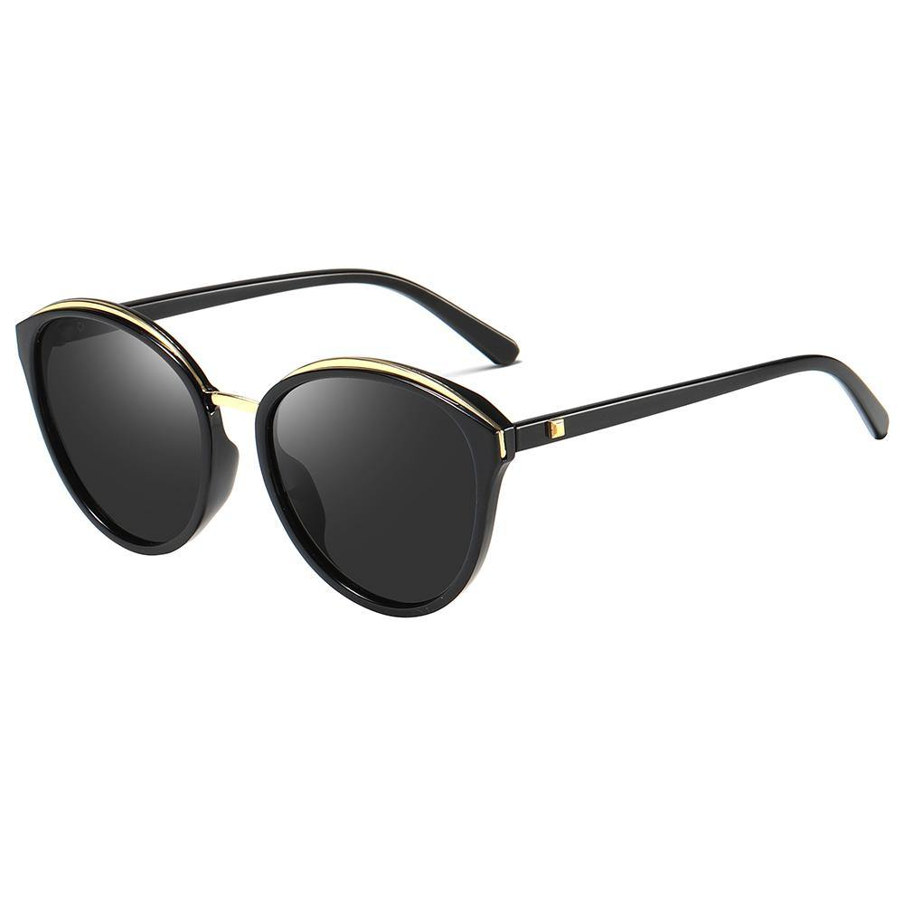 round sunglasses, black tint lens, black temple arms, with gold rim inserted
