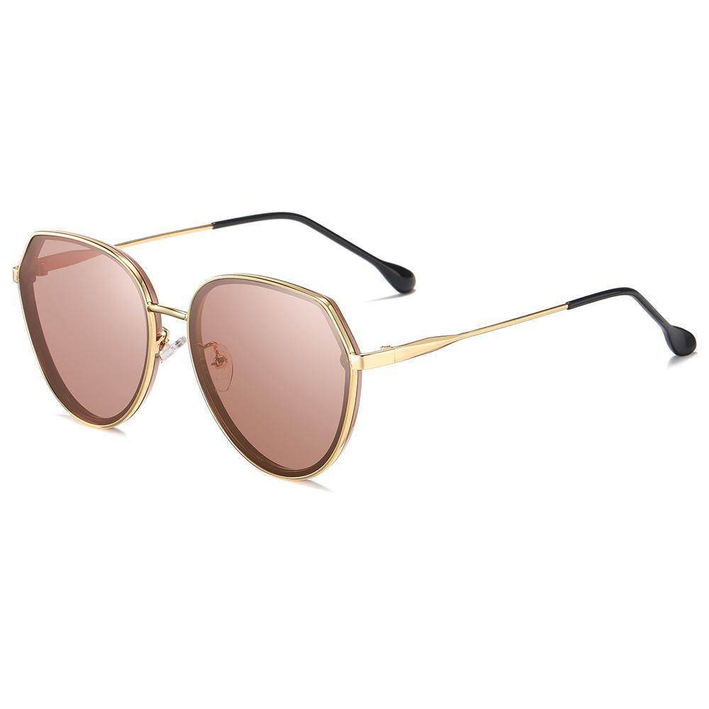 Red Tint Lens Gold Frame Shades Suits for Girls